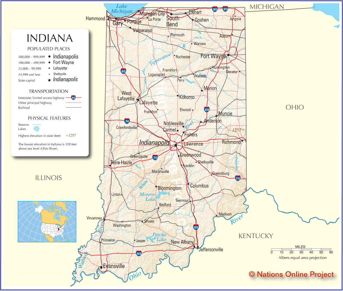 Map Of Indiana America Maps Map Pictures - Indiana state map with cities