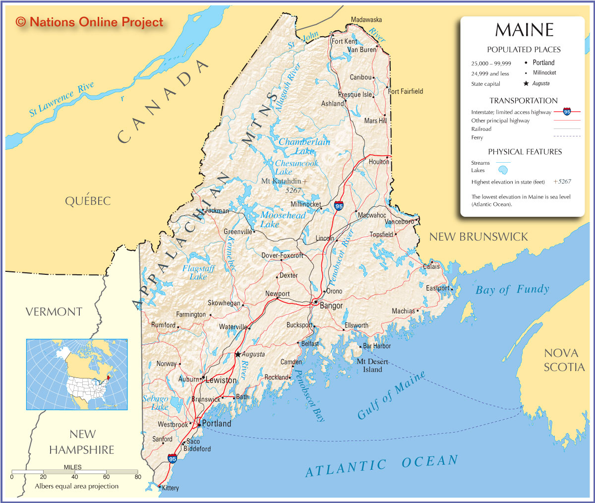 Maine State Maps USA Maps Of Maine ME Vector Color Map Maine - Maine state usa map