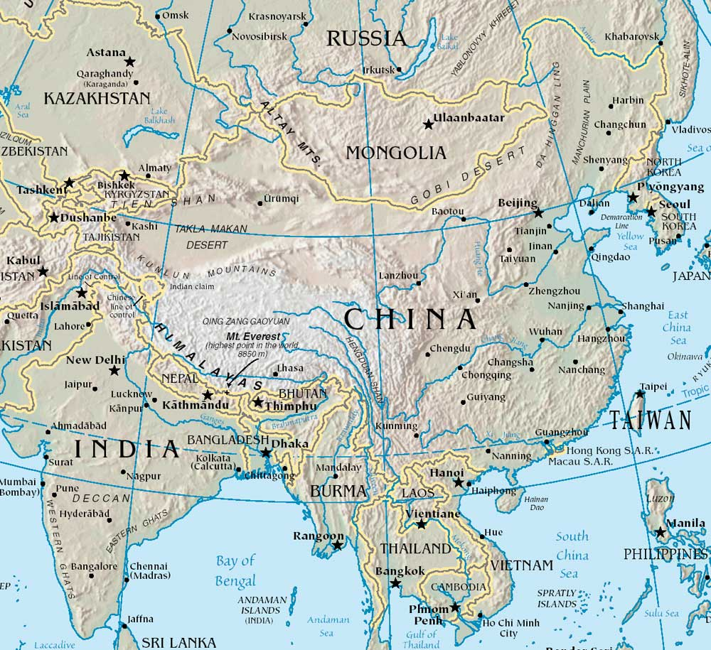 China Map Rivers Asia Maps Map Pictures - World map with rivers