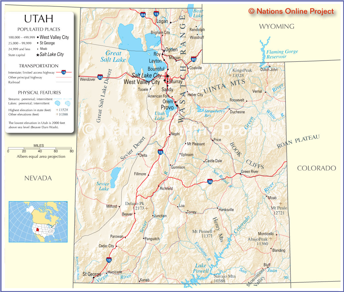 Map Of Utah - Utah on a map of the usa