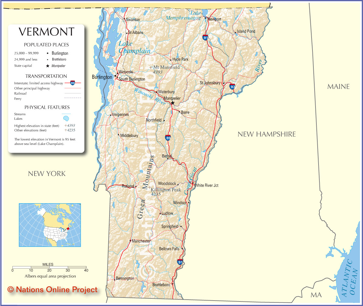 Map Of Vermont America Maps Map Pictures - Vermont in usa map