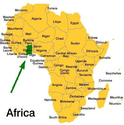 ghana africa map detailed