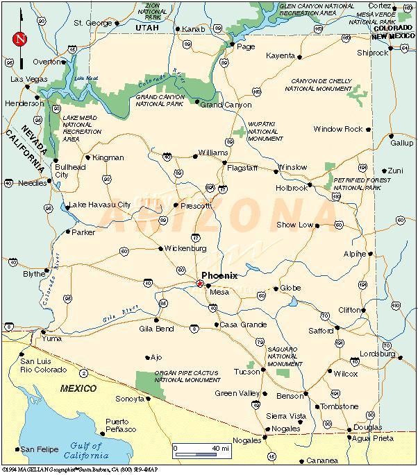 Phoenix Usa Map: Map Of Arizona Counties