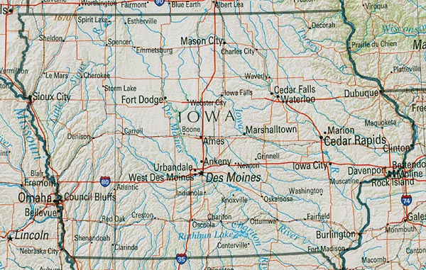 Iowa One Of The U S States Pared In The United States Of America In 1846 The Largest And Most Advanced City Des Moines Dur Map Of Iowa