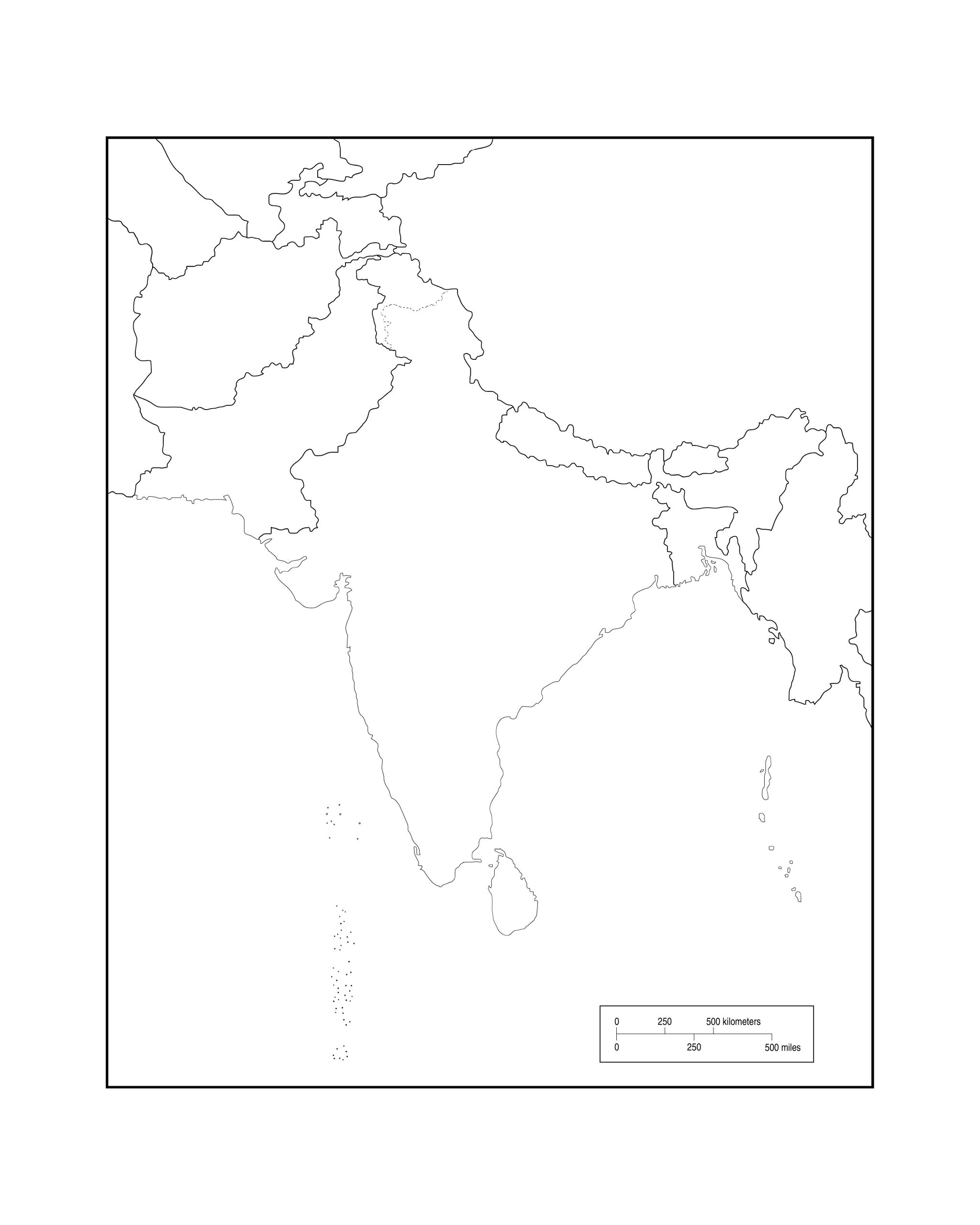 South Asia outline - Map Pictures