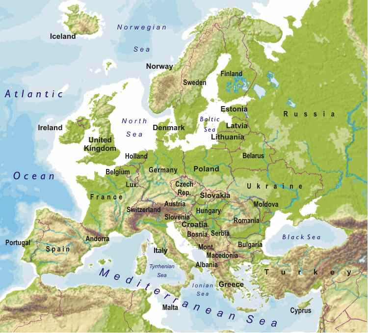 Map Of Europe Russia Middle East%0A european world map