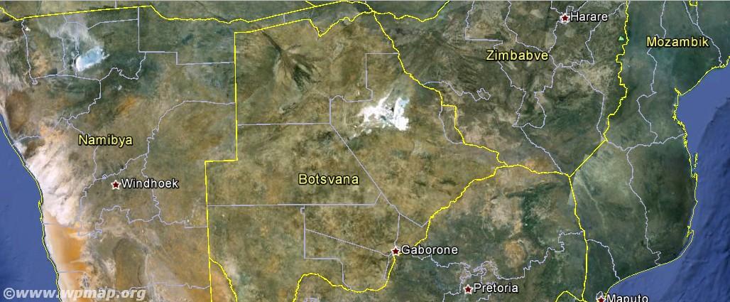 satellite map of botswana