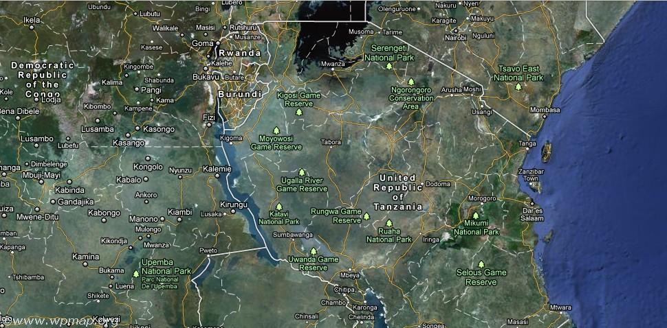 satellite map of tanzania