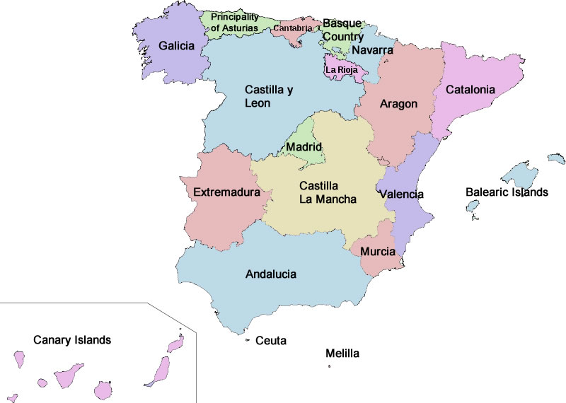Map Of Spain Europe Maps Map Pictures - Spain regions map