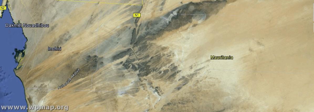 satellite map mauritania
