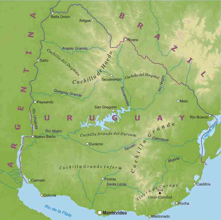 Map Of Uruguay South America Maps Map Pictures - Uruguay physical map