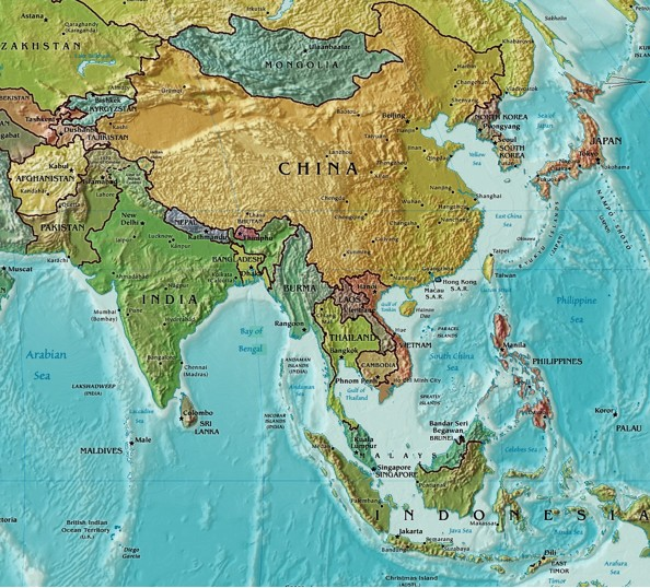 Images for physical map asia political