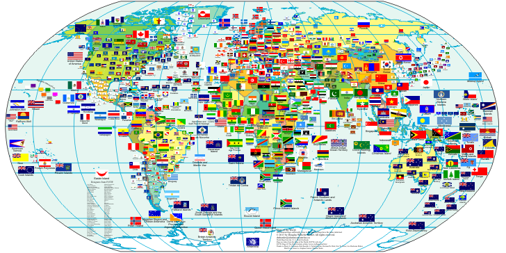 photograph about Printable Country Flags titled entire world flags - Environment Maps - Map Images