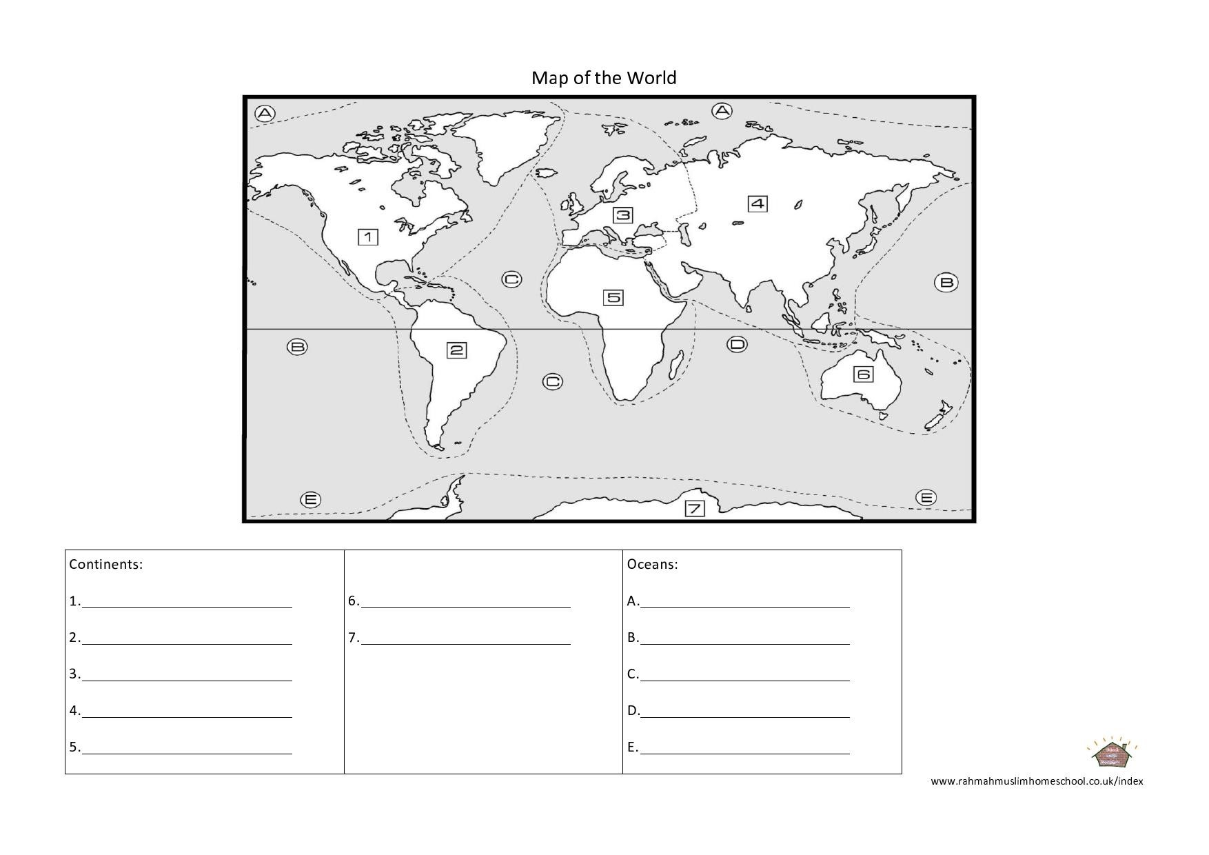 Continents Oceans Worksheets World Maps Map Pictures