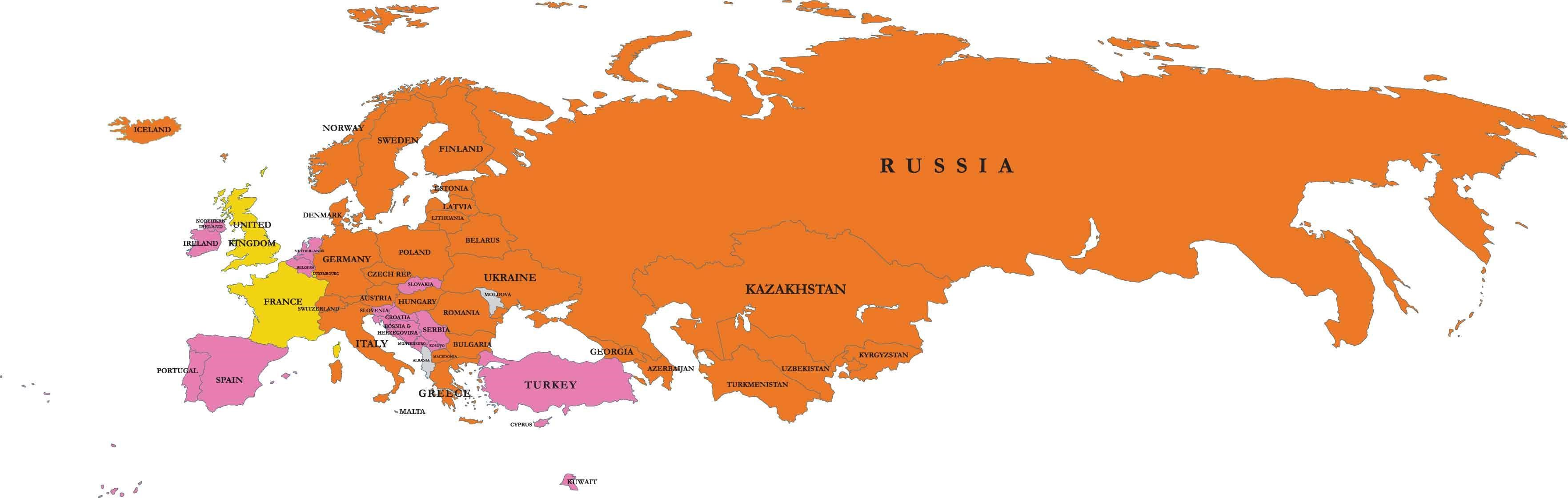 Map of Russia and Europe - Map Pictures