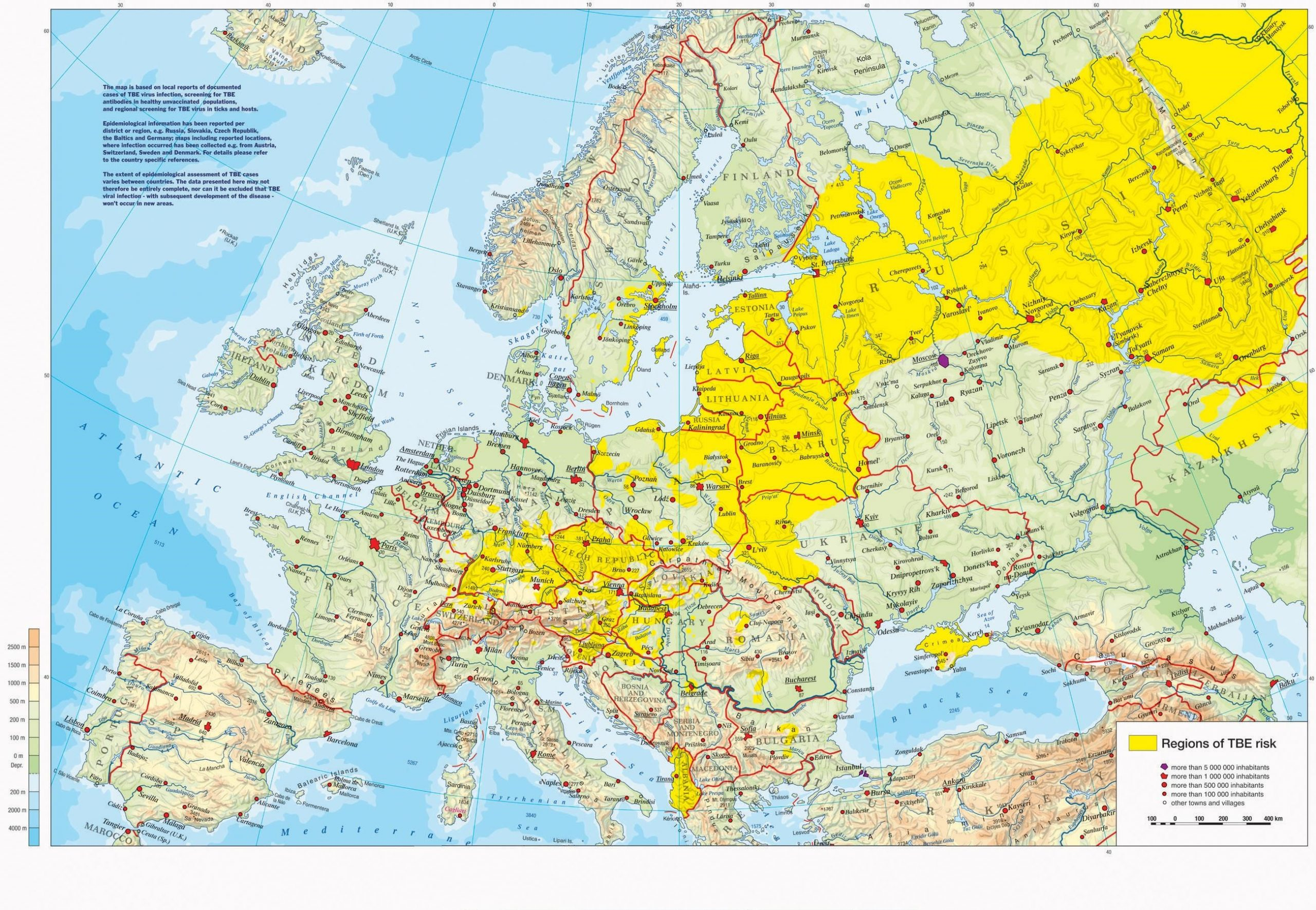 Map of Russia and Europe