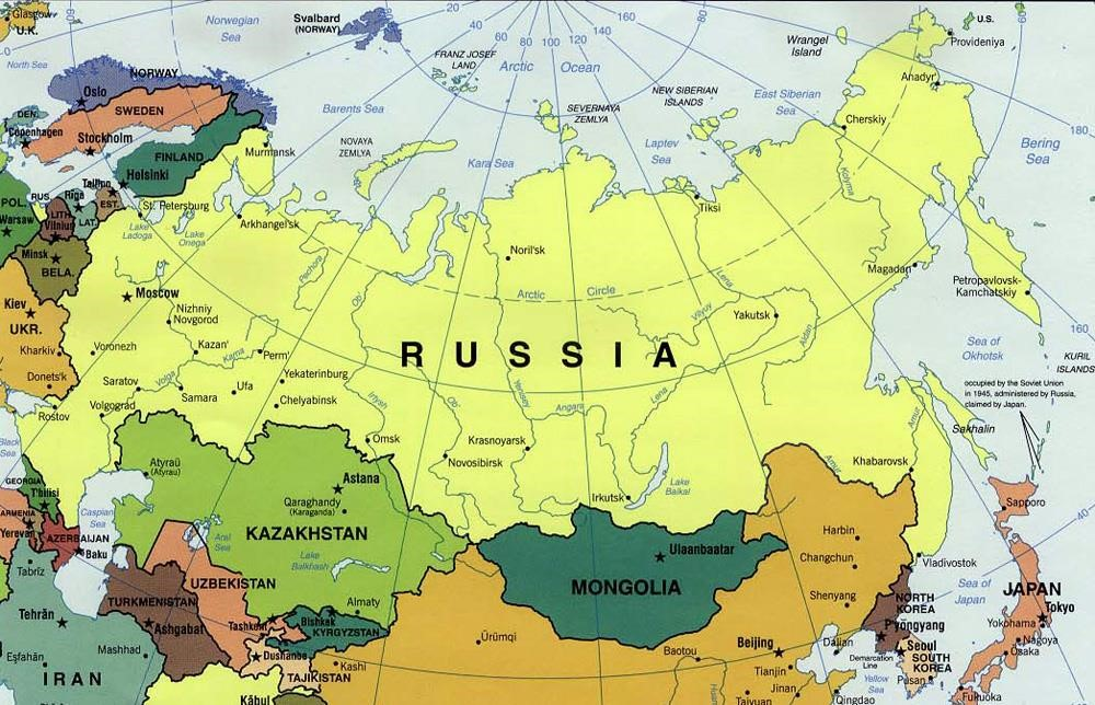 Russia And The Republics Political Map russia and the republics political map