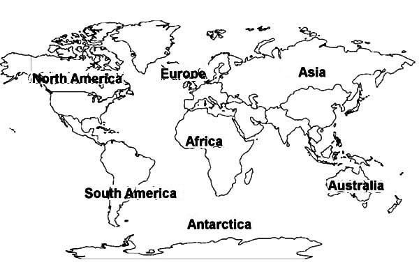 World map of all continents coloring for World map coloring page
