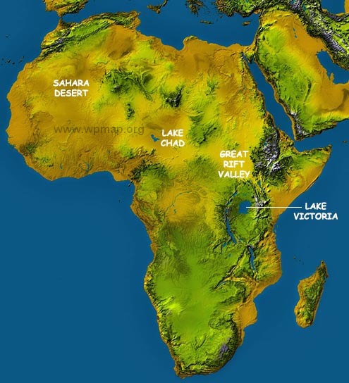africa topographcial map