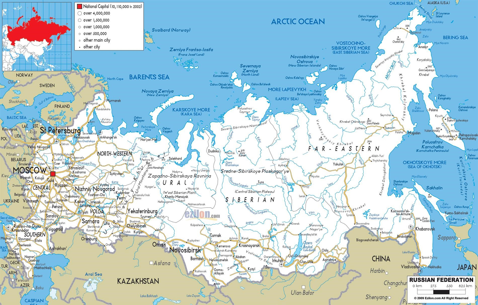 map of russia with cities