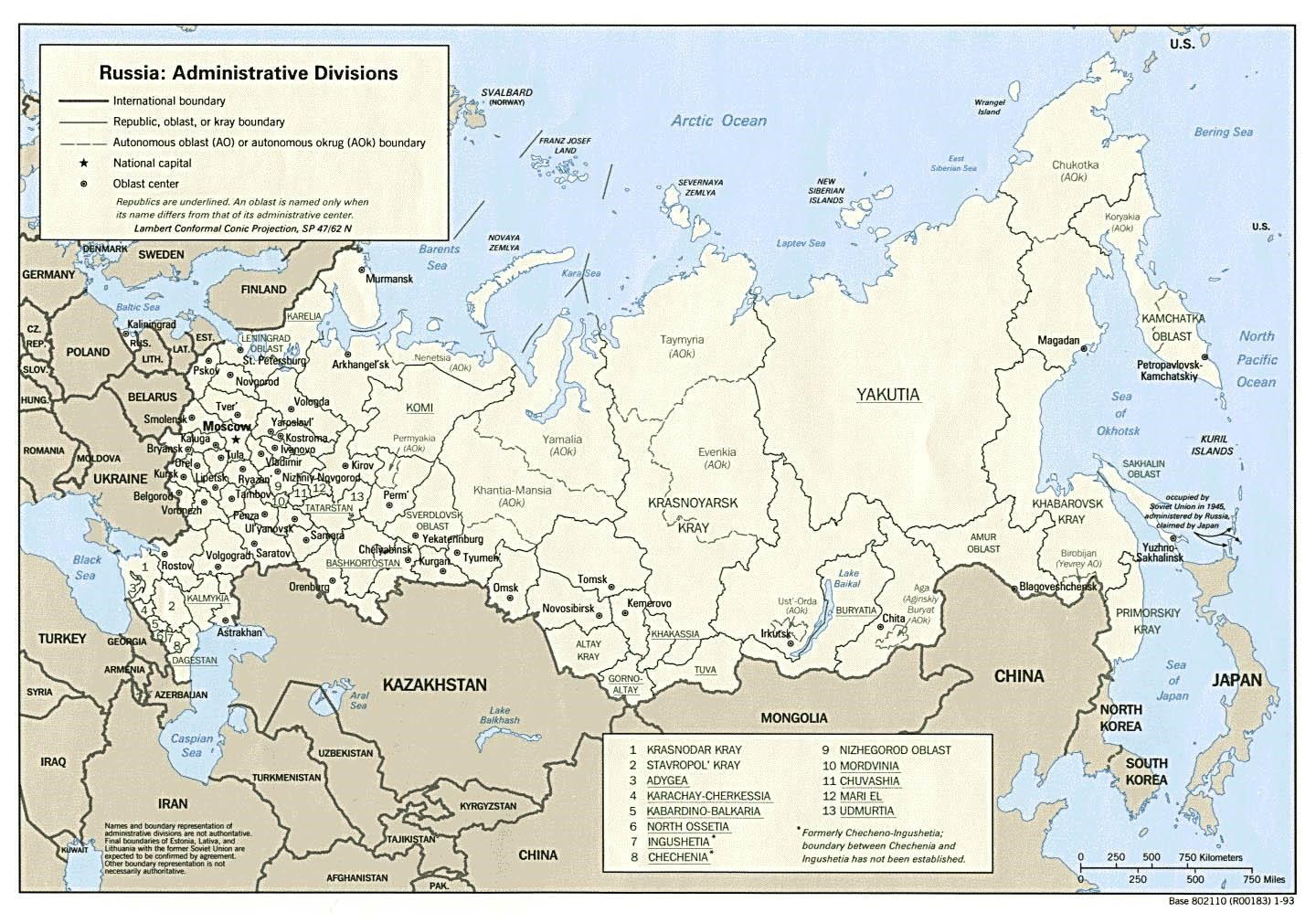 Political And Administrative Map Of Russia With Major Cities Map - Map of russia with cities