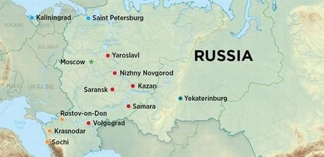 russia world cup 2018 cities map location - Map Pictures