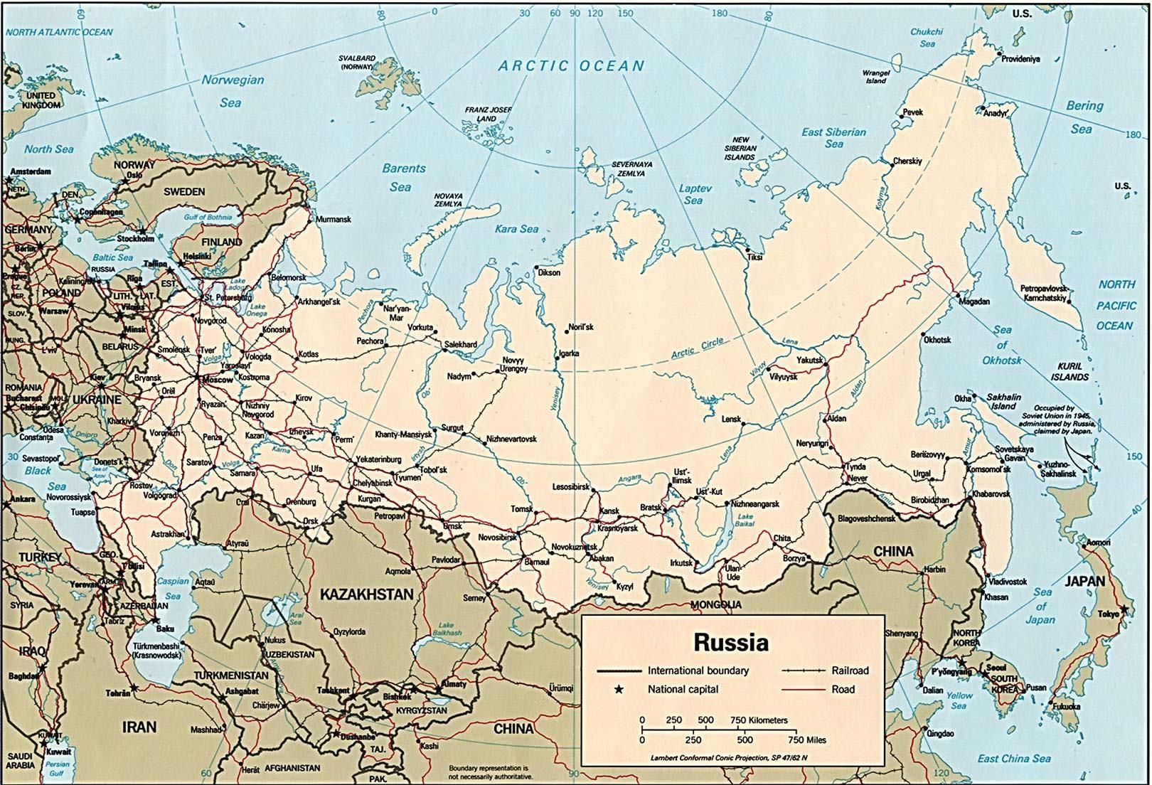 russia_map_capital_railroad_road_scale_miles_km