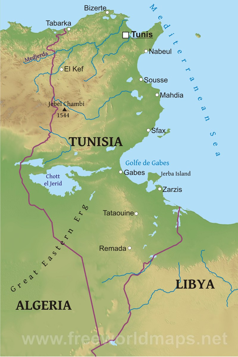 tunisia-map-physical