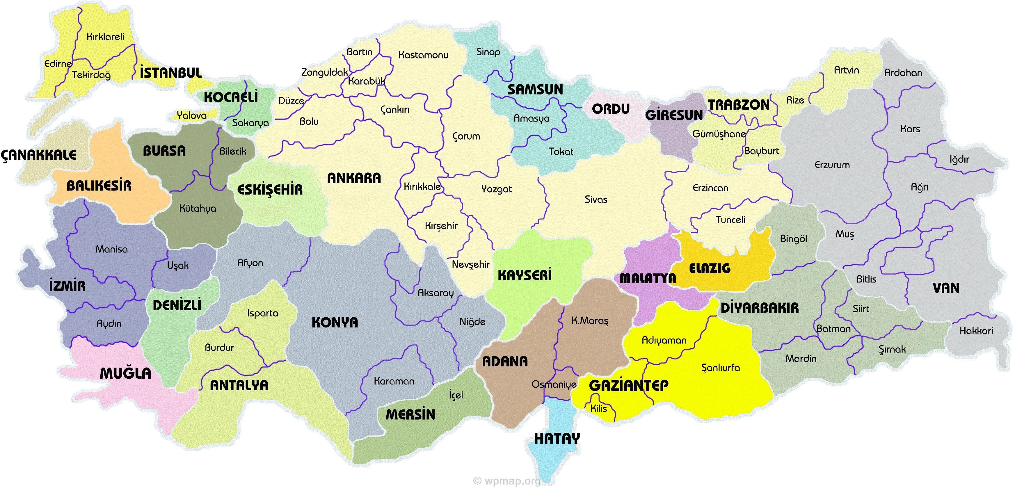 Large and Detailed map of Turkey showing all the cities Map Pictures