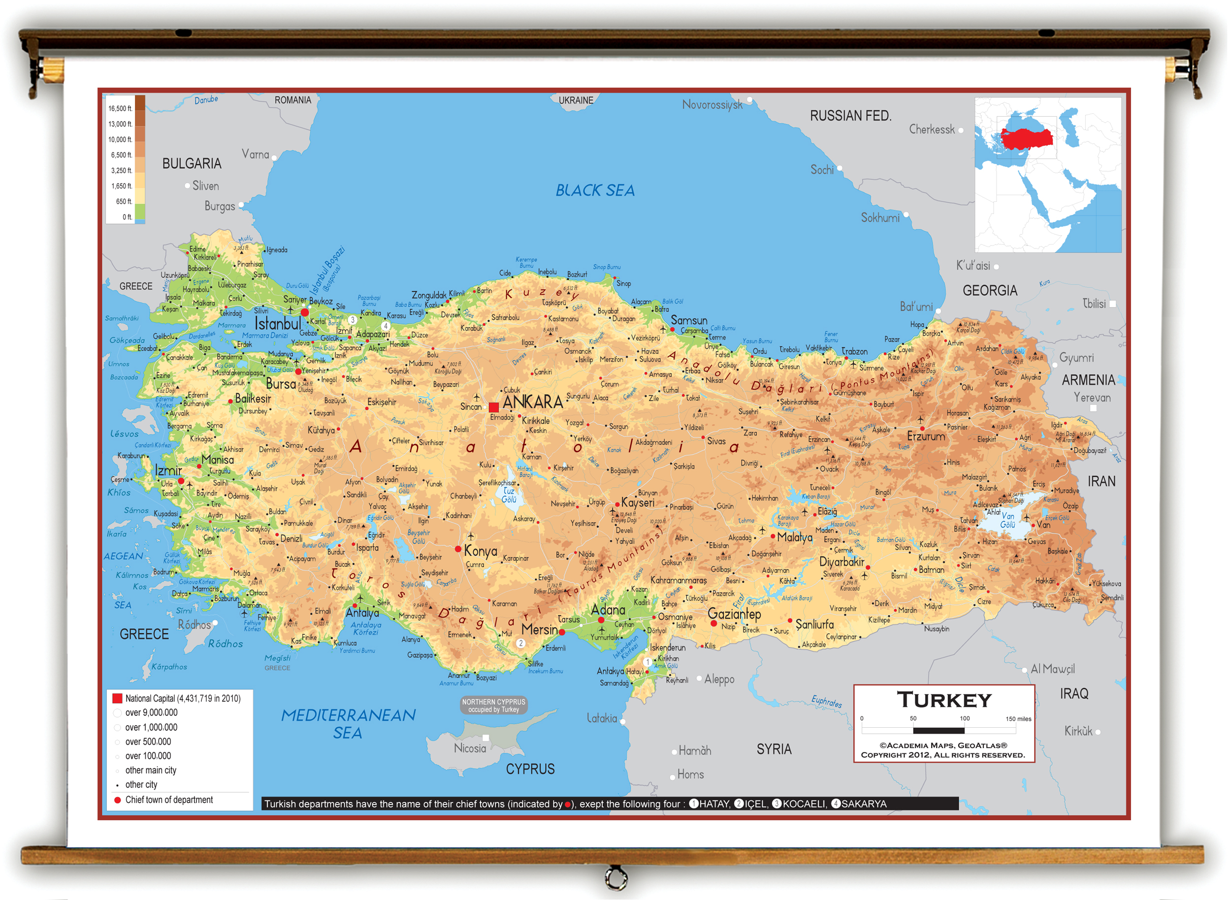 Image of: Physical Map Of Turkey Turkey Physical Map Turkey Map