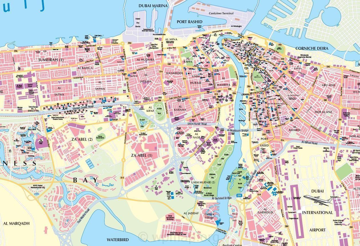 Dubai city creek for Map of dubai hotels