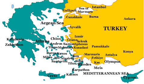 Turkey And Greece Map   CYNDIIMENNA