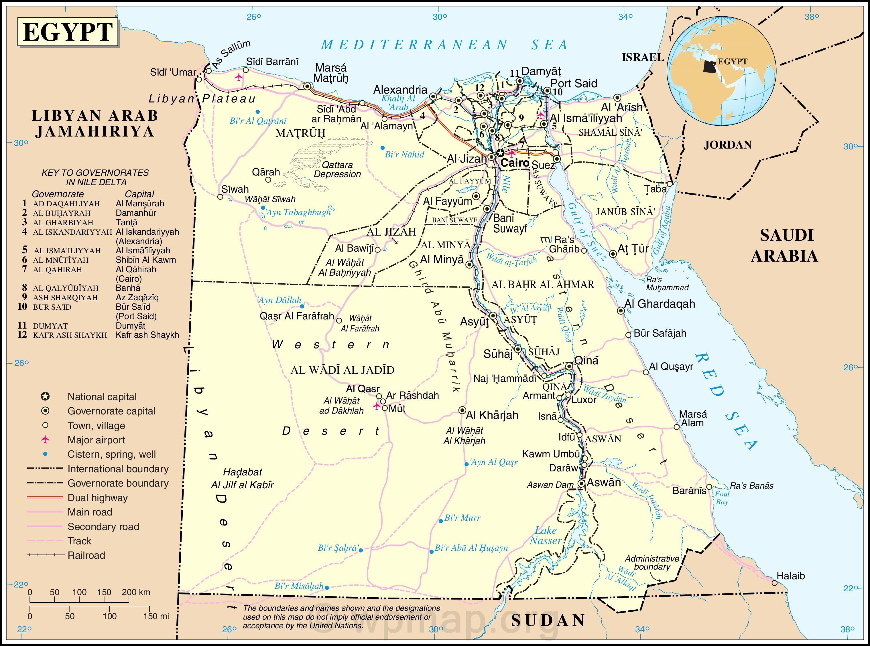 Political Map Of Egypt Maps Of Egypt Geographical Map Of Egypt - Map of egypt with major cities
