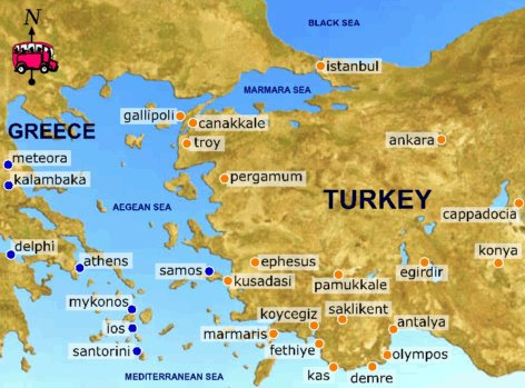 map of greece and turkey   Map Pictures