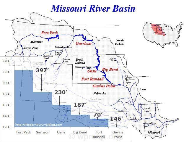 Missouri river basin dams and elevations map pictures missouri river basin dams and elevations sciox Images
