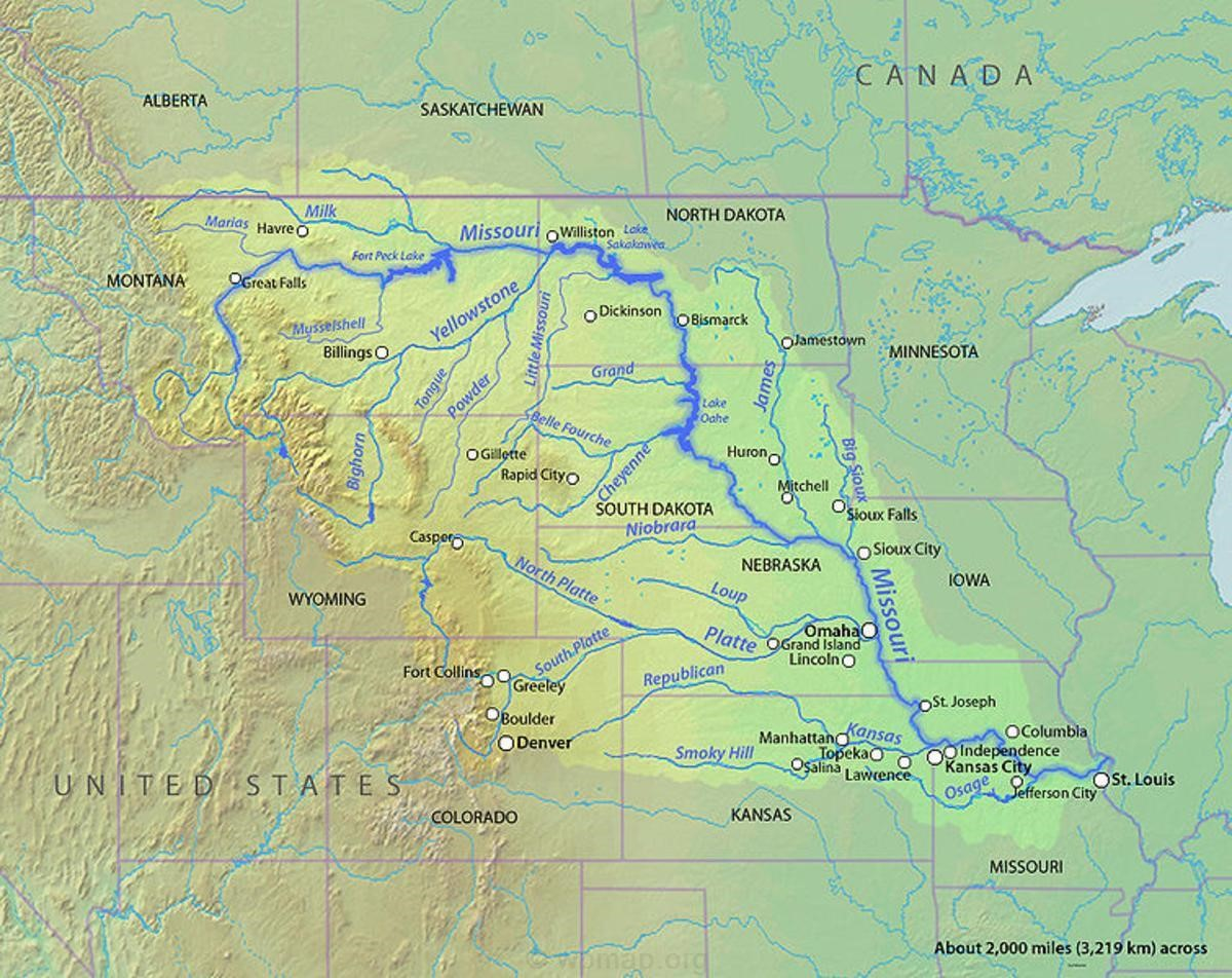 Map Of Missouri River Missouri Rivers On A Map Missouri River Map - Missouri lakes map