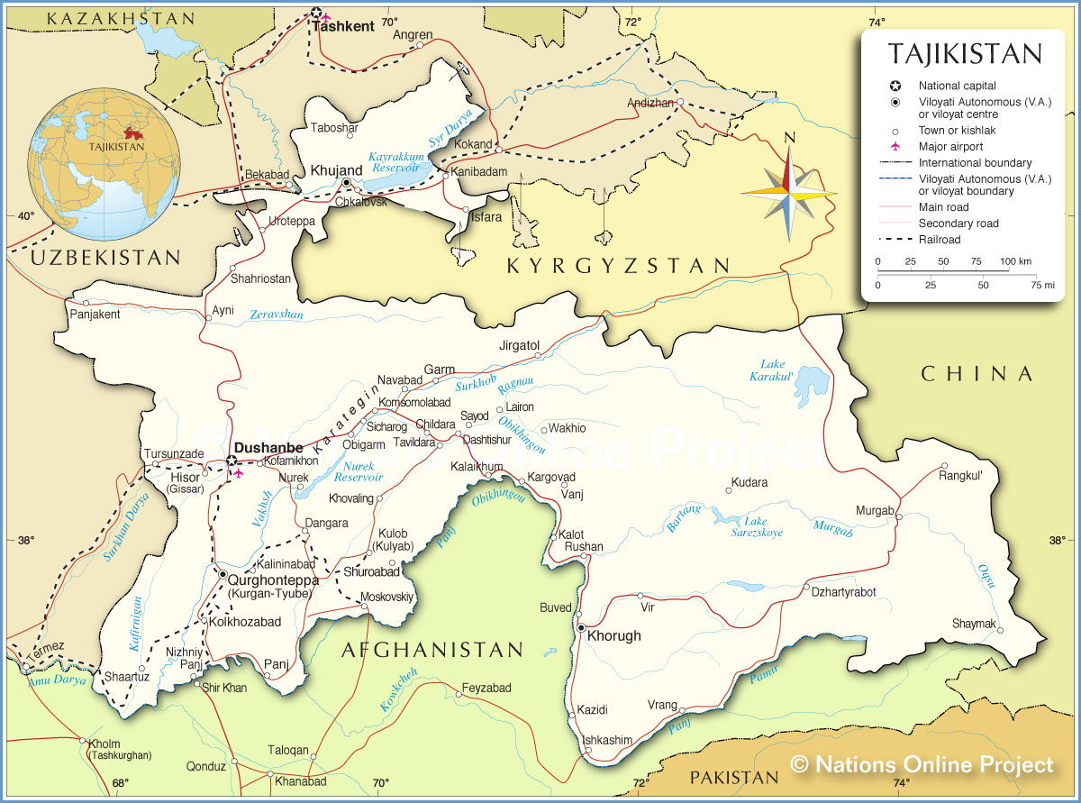 Map of Tajikistan Physical Map of Tajikistan Political Map of