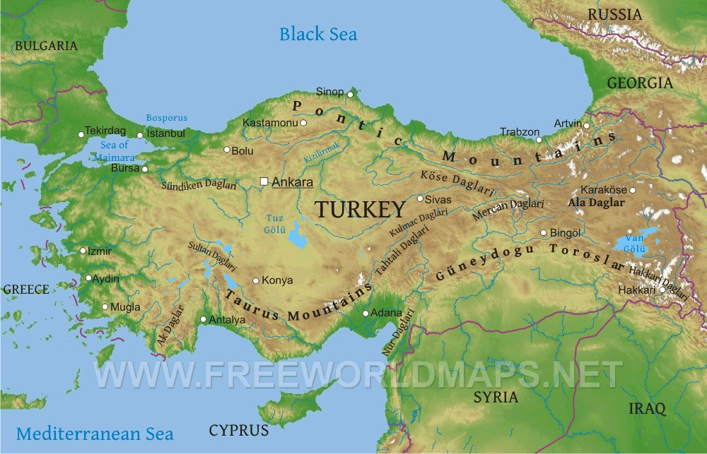 Turkey Physical Map Map Pictures - Physical map for kids