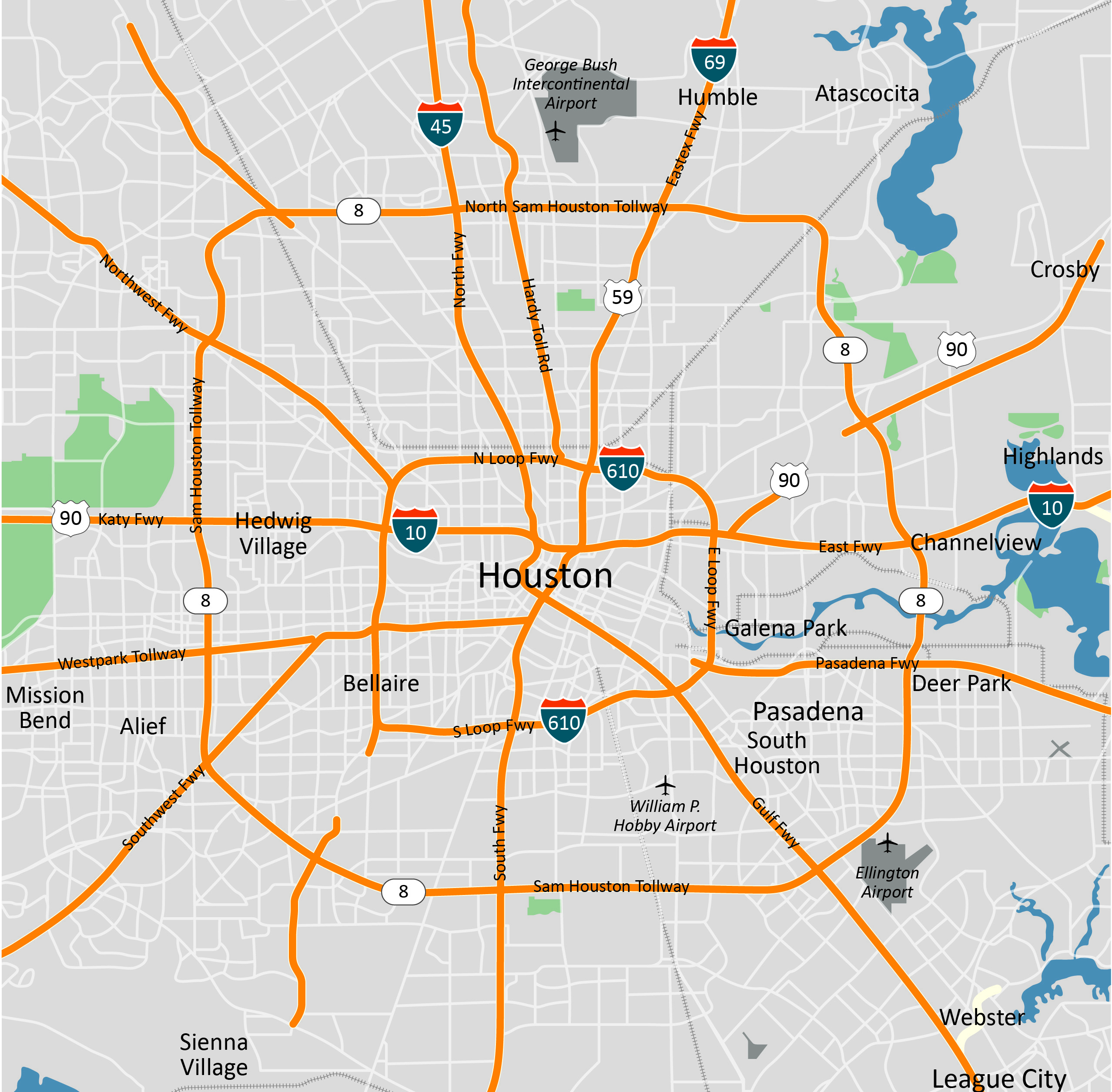 Houston Overview Map Website Map Pictures - Printable map of houston