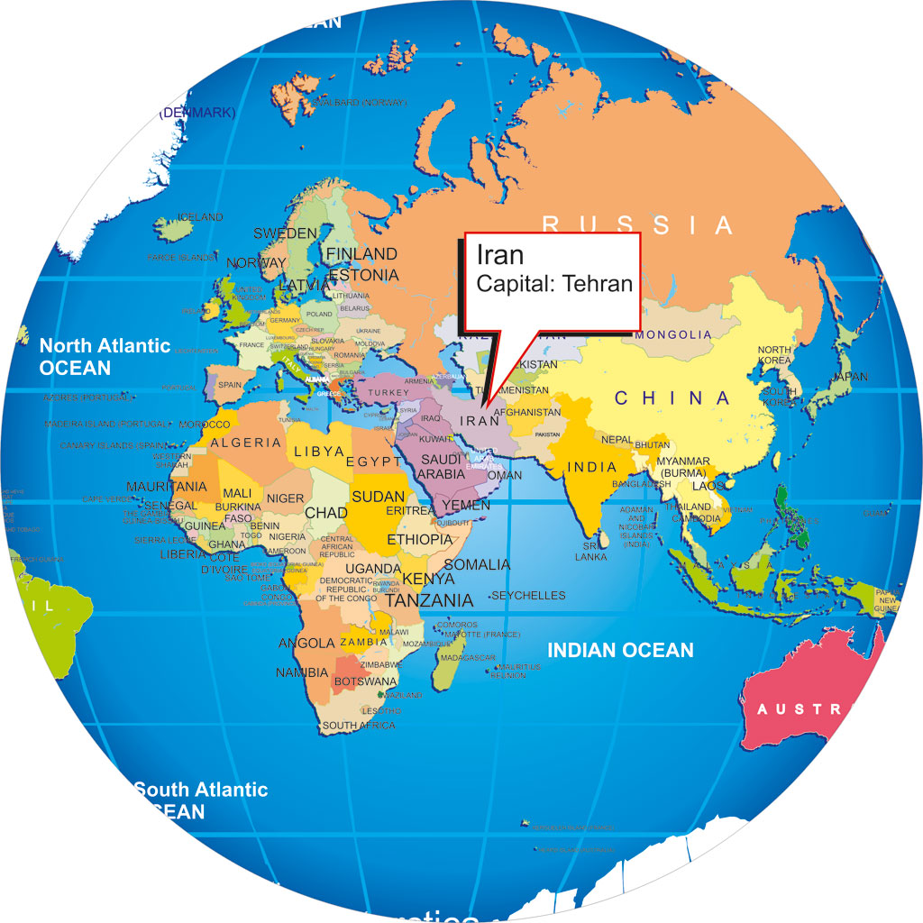 Iran Map Globe Earth Russia Afghanistan Turkmenistan ...