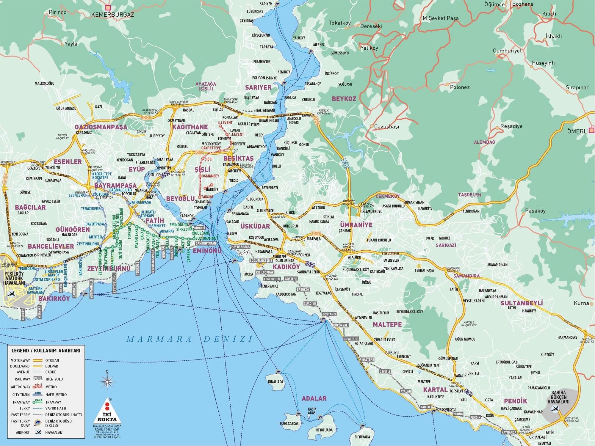 Istanbul Map English Istanbul Neighborhood Map   Map Pictures