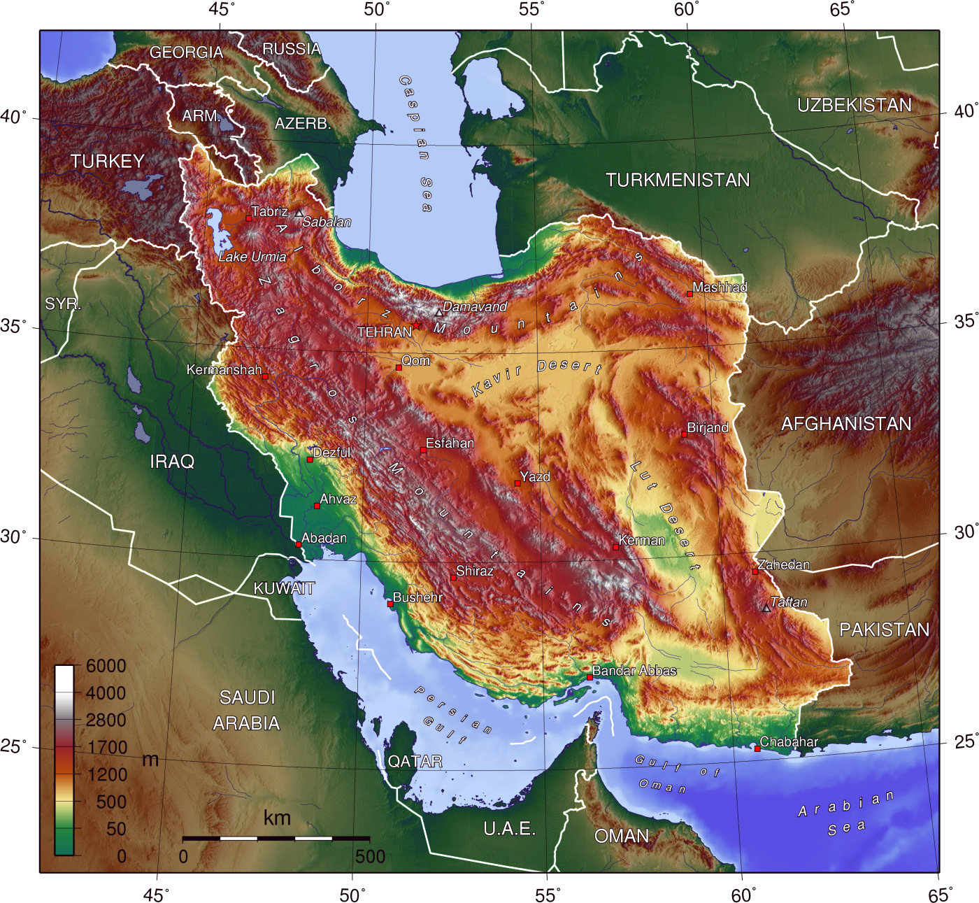 detailed_physical_map_of_iran_and_iraq