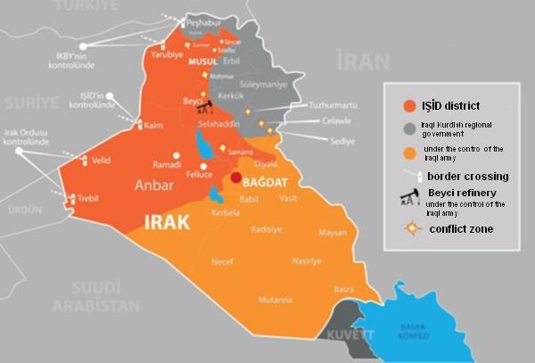War map of Iraq and Kurdish regional government
