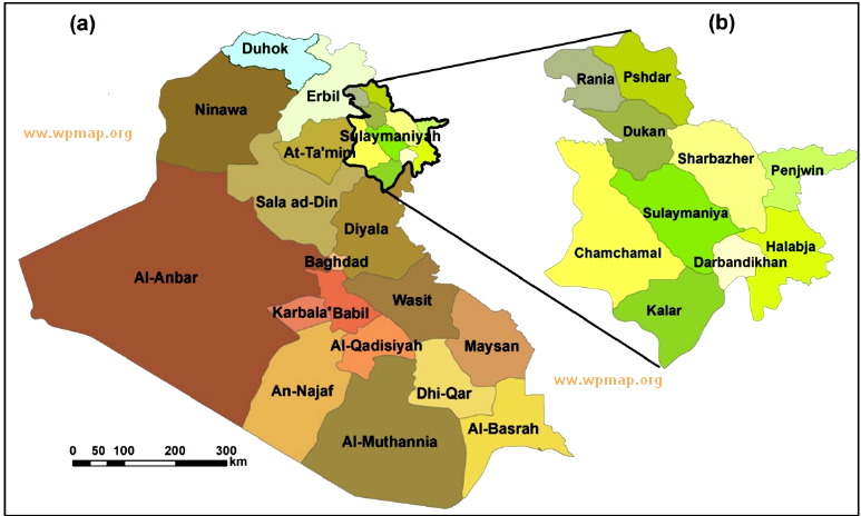 map of the Sulaymaniyah province where the filed study was