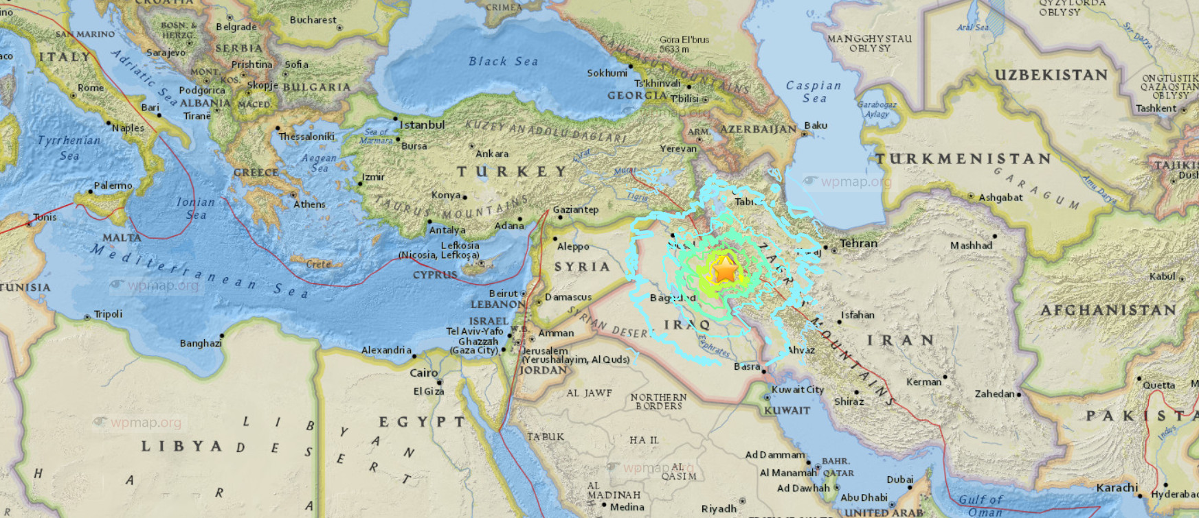 Sulaymaniyah earthquake map