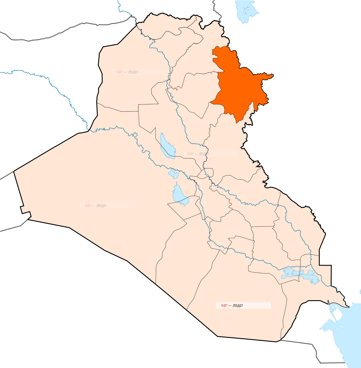 Sulaymaniyah map