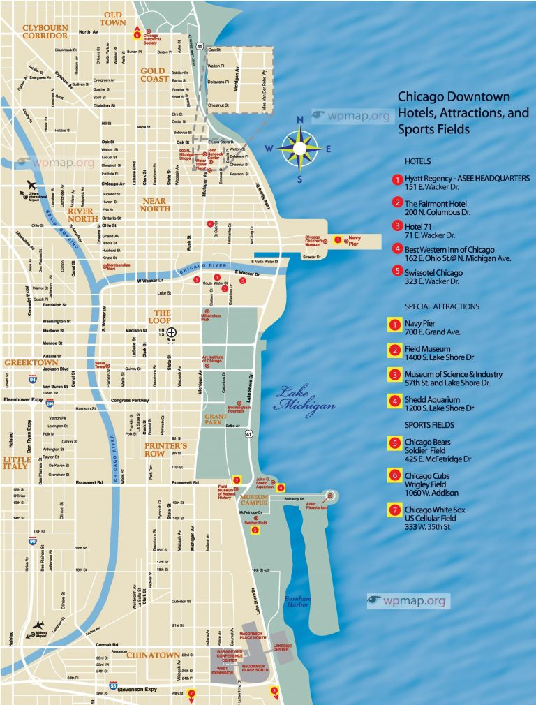 chicago downtown map - Map Pictures