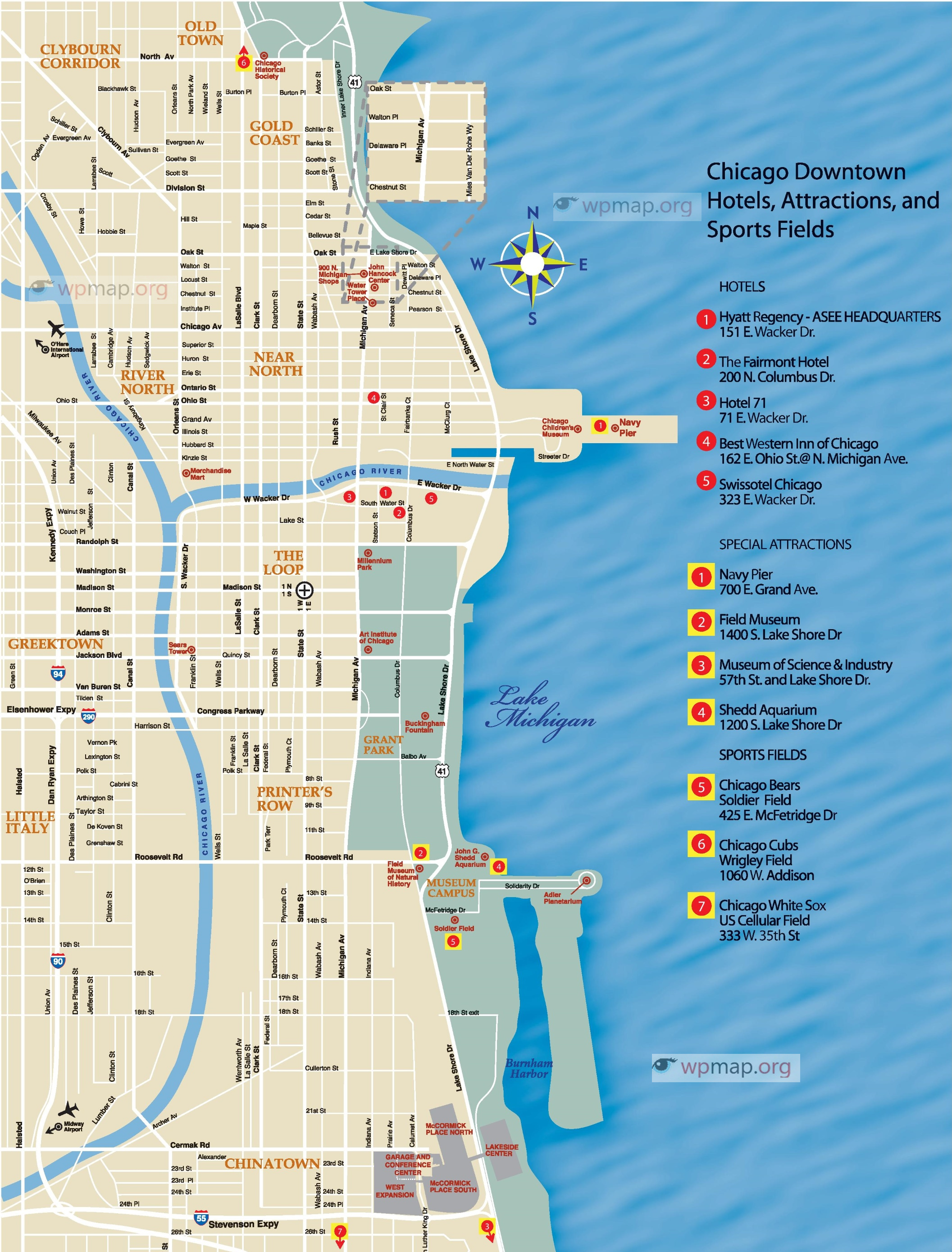 Map Of Chicago Printable Map Of Chicago Chicago Map Usa