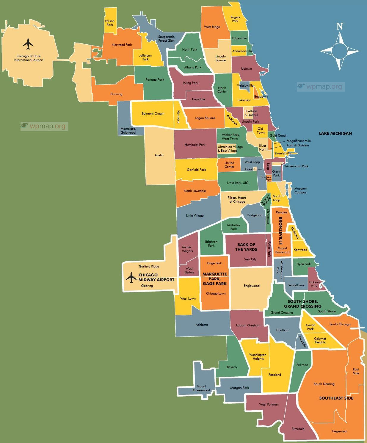graphic relating to Printable Map of Chicago called Map of Chicago - Printable Map of Chicago - Chicago Map United states of america